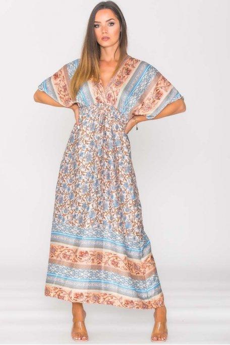 Robe longue décolletée motif cachemire bleu