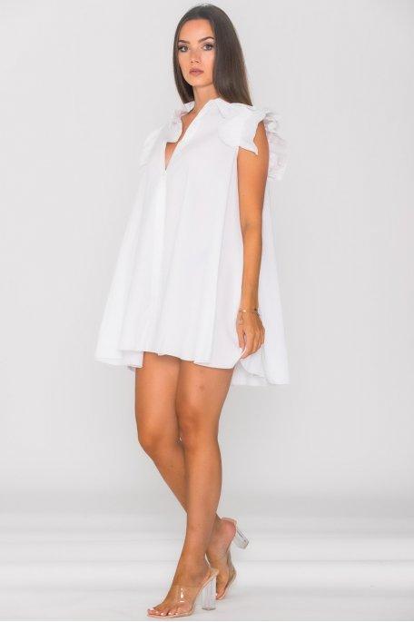 Robe chemise évasée manches courtes à volants blanc