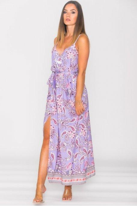 Robe cache-coeur à bretelles motif violet