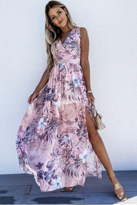 Robe longue motif exotique fendue rose