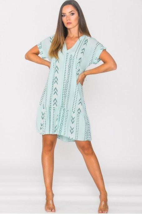 Robe ample col V motif géométrique turquoise