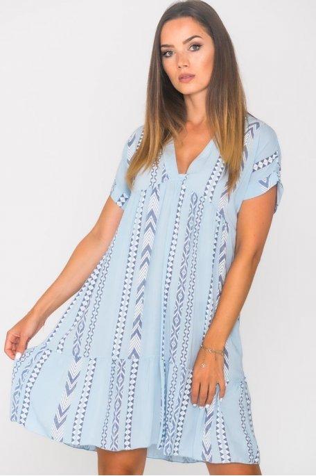 Robe ample col V motif géométrique bleu