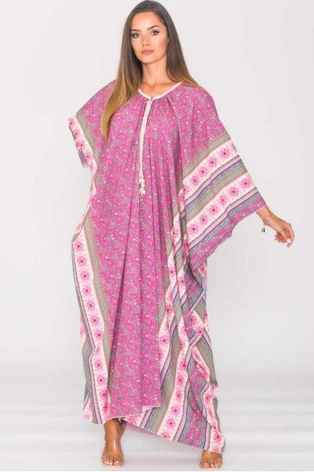 Robe longue manches chauve-souris rose