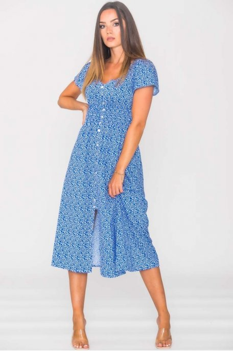 Robe longue fleurie cintrée boutons bleu