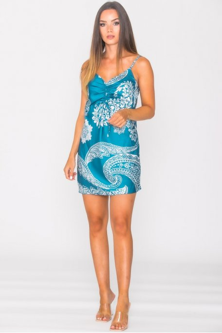 Robe courte satinée froncée à motif bleu