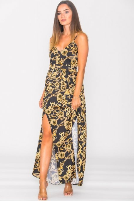 Robe longue fendue motif chaîne dorée noir