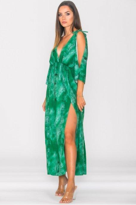 Robe longue fendue bariolée dos nu vert