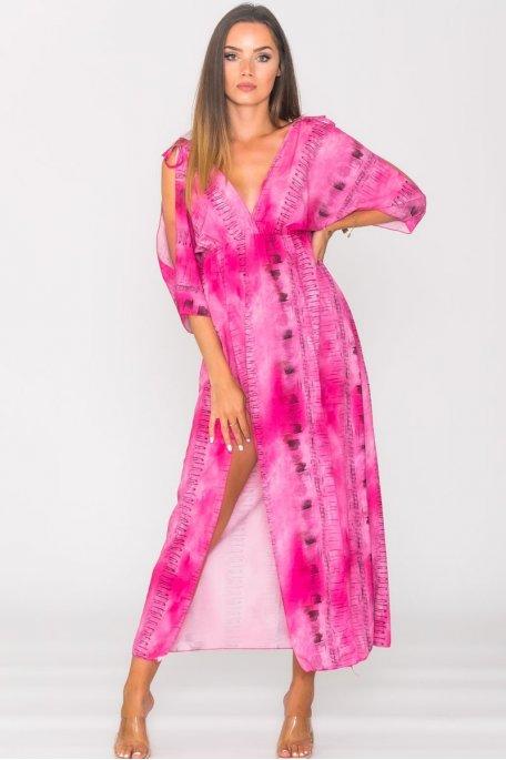 Robe longue fendue bariolée dos nu rose