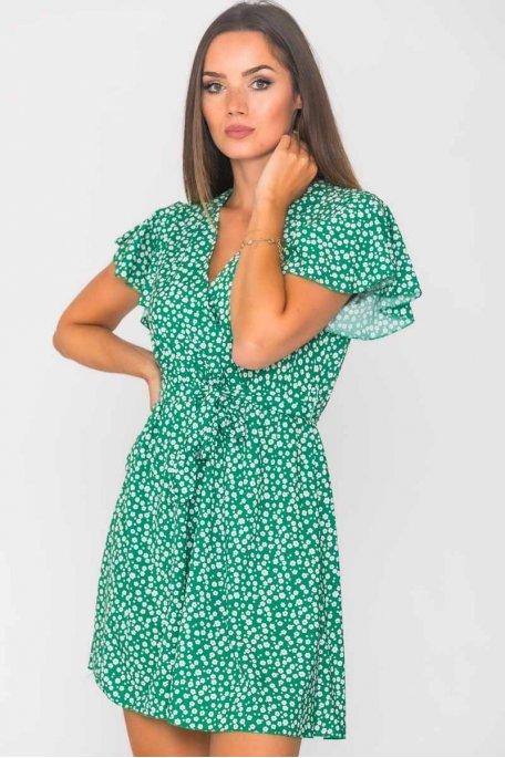 Robe courte ceinturée fleurie vert