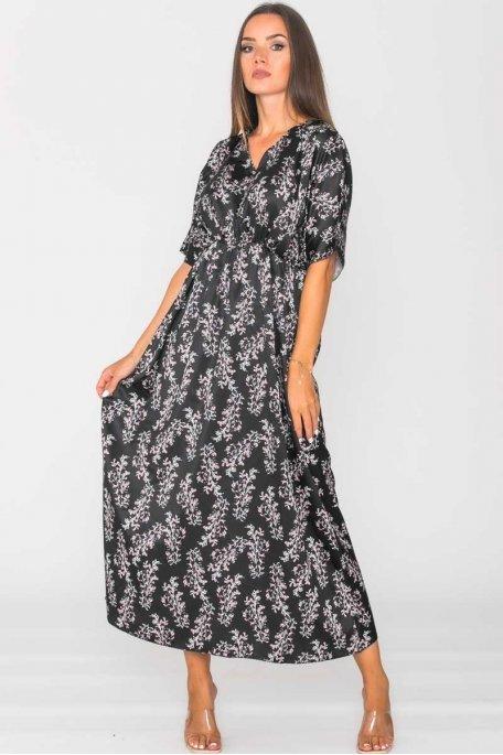 Robe longue satinée imprimé fleuri noir