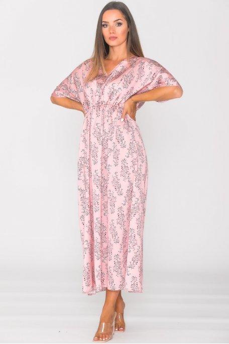Robe longue satinée imprimé fleuri rose
