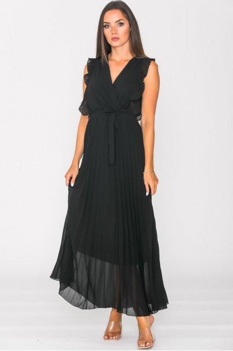 Robe longue plissée col V noir