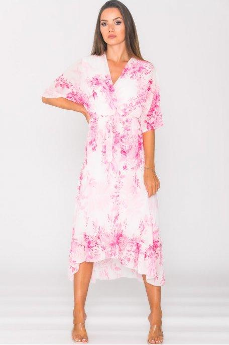 Robe longue en mousseline imprimé fleuri rose