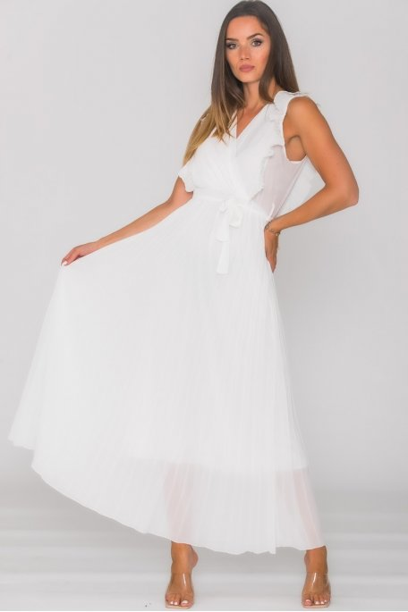 Robe longue plissée col V blanc