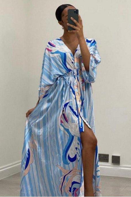 Robe longue satinée à motif coloré bleu