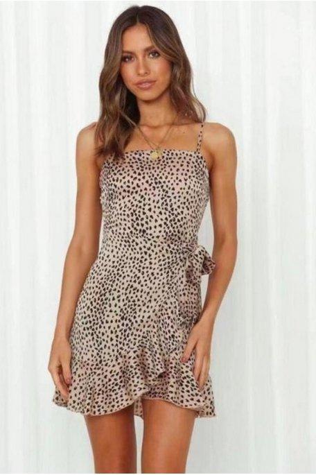 Robe courte léopard et bretelles fines camel