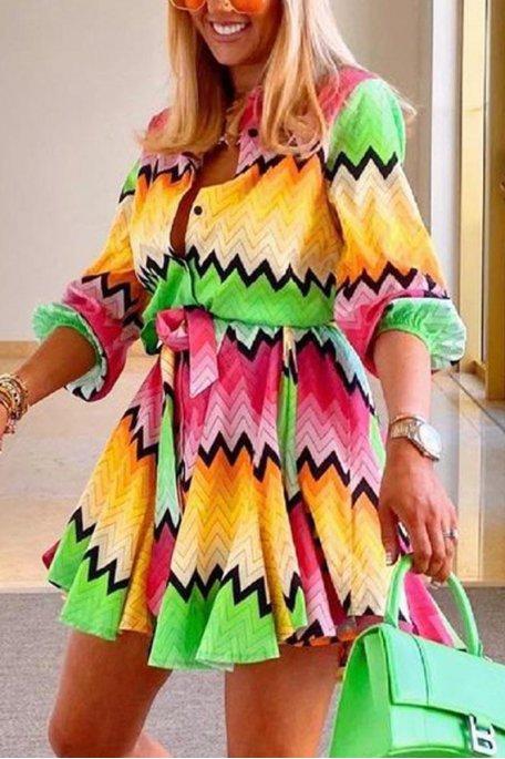 Robe courte à motif colorée multicolore