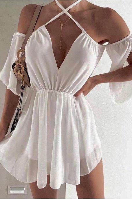 Robe fluide épaules dénudées cintrée blanc