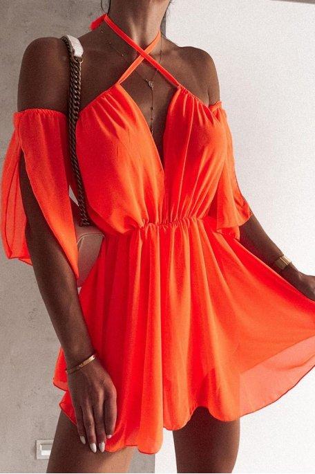 Robe fluide épaules dénudées cintrée orange