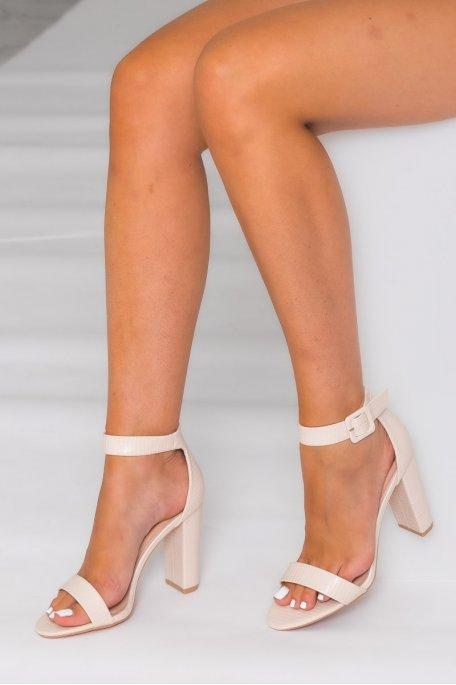 Sandales à talon carré effet croco beige