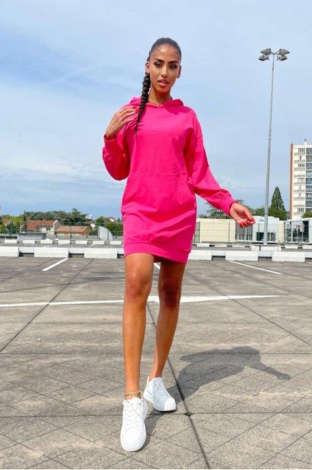 Robe sweat à capuche rose fuchsia