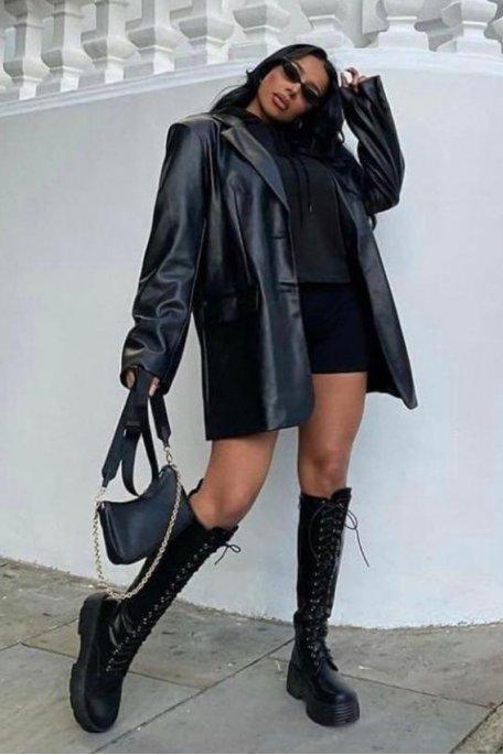 Veste blazer simili cuir à poches noir