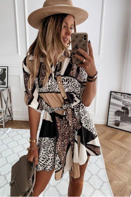Robe fluide patchwork léopard