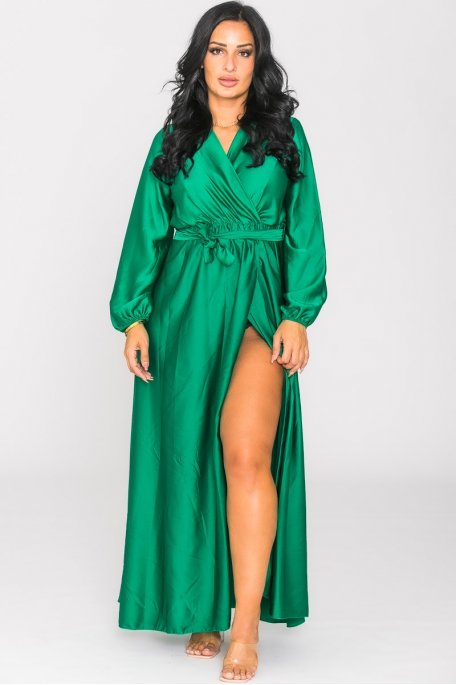 Robe longue cache-coeur fendue satinée vert
