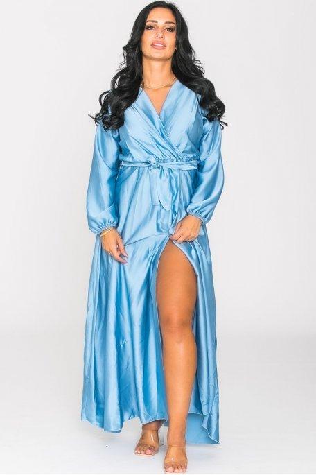 Robe longue cache-coeur fendue satinée bleu