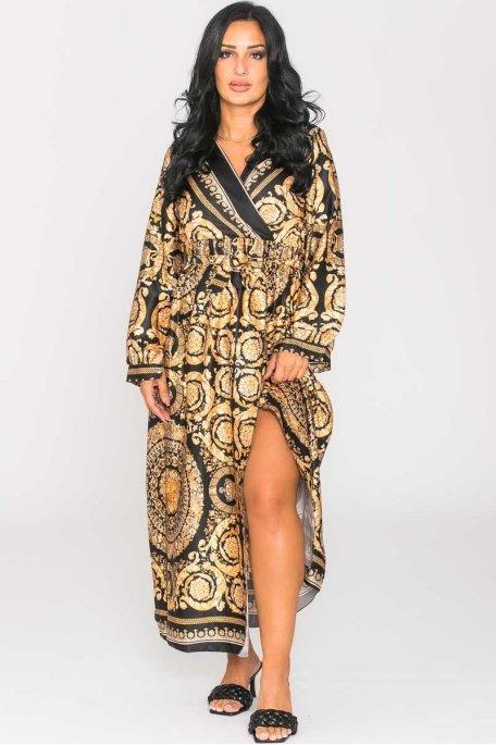Robe longue satinée baroque noir