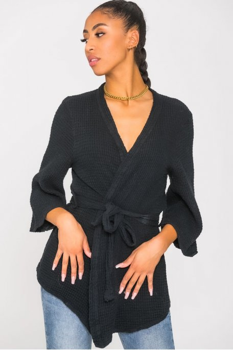 Kimono gaz de coton noir