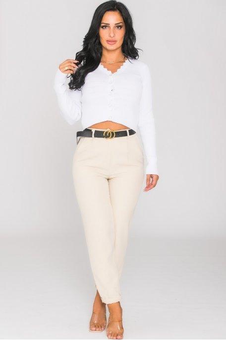 Pantalon chino ceinture CC beige