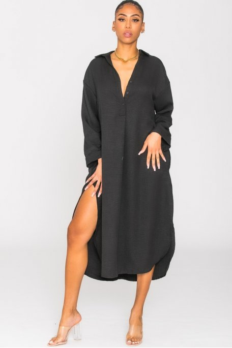 Robe fluide col chemise oversize noir