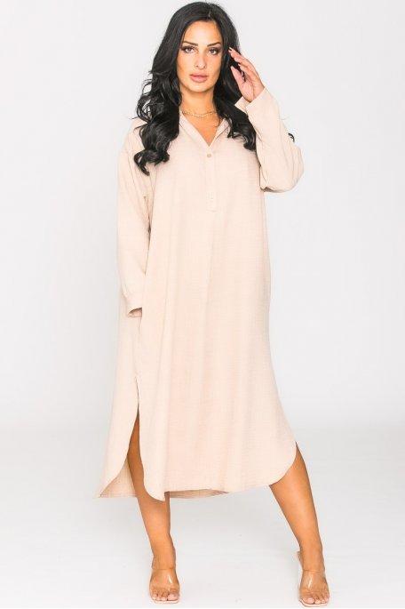 Robe fluide col chemise oversize beige