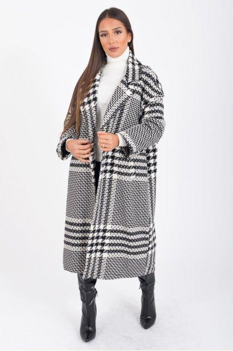 Manteau long pied de coq