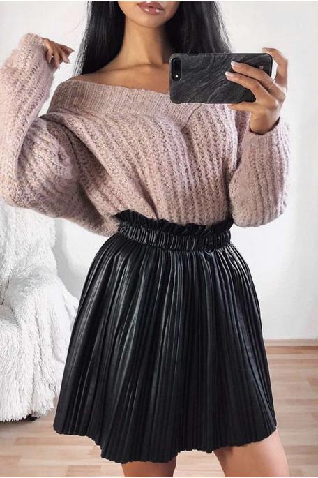 Jupe courte plissée simili cuir noir