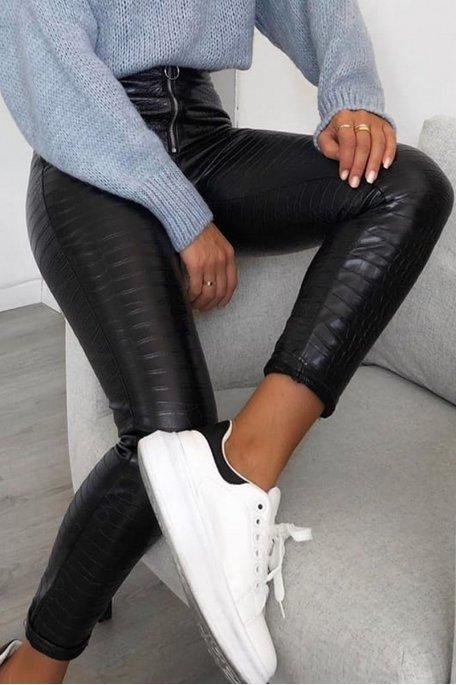 Pantalon simili cuir effet croco noir