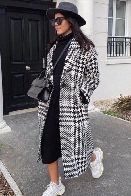Manteau long pied-de-poule noir
