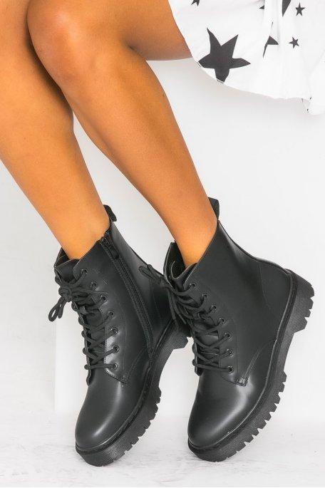 Bottines à lacets simili noir