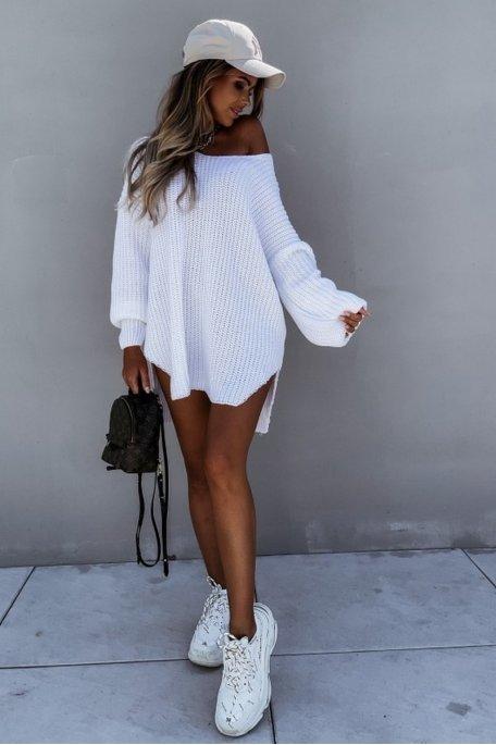 Robe pull en maille oversize blanc