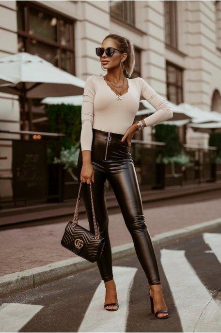 Legging simili cuir zip noir