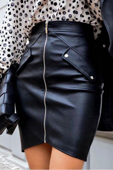 Jupe simili zip noir