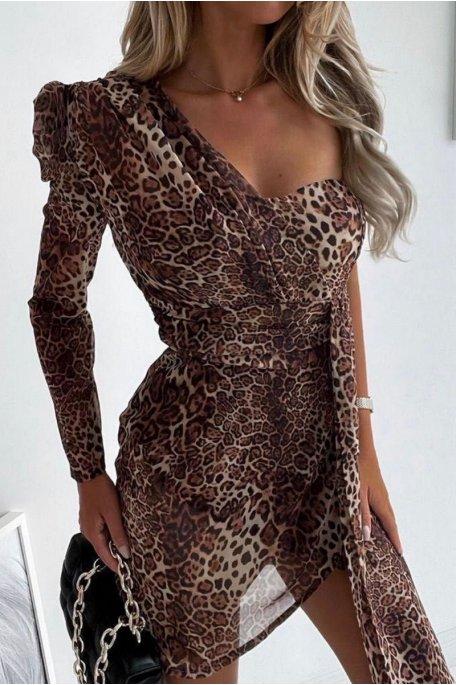 Robe courte voile léopard asymétrique marron