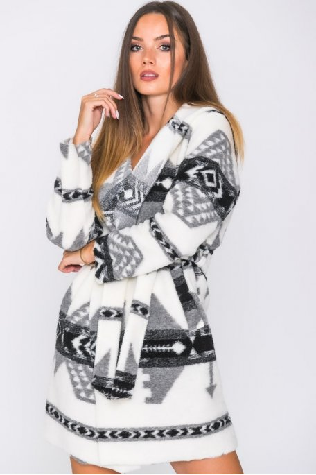 Veste longue ceinturée capuche motifs aztèques noir