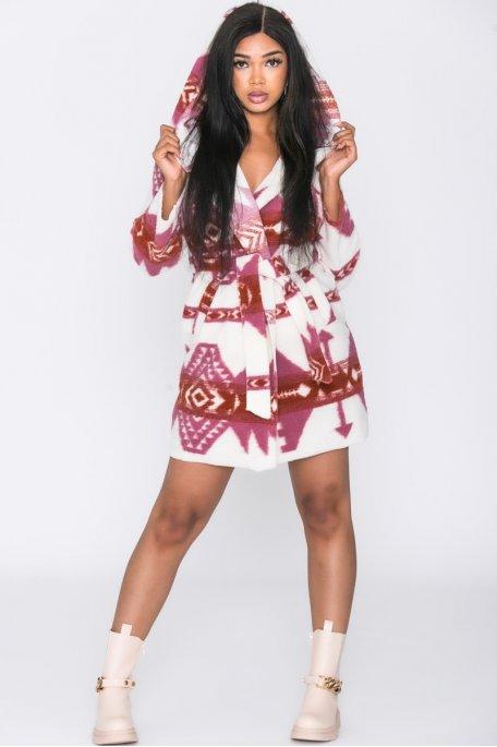 Veste longue ceinturée capuche motifs aztèques rose