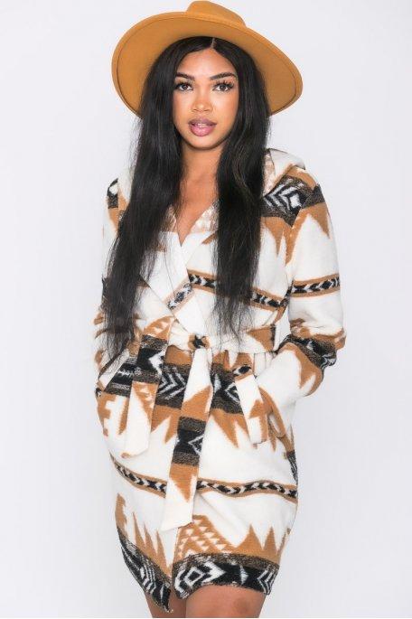 Veste longue ceinturée capuche motifs aztèques camel