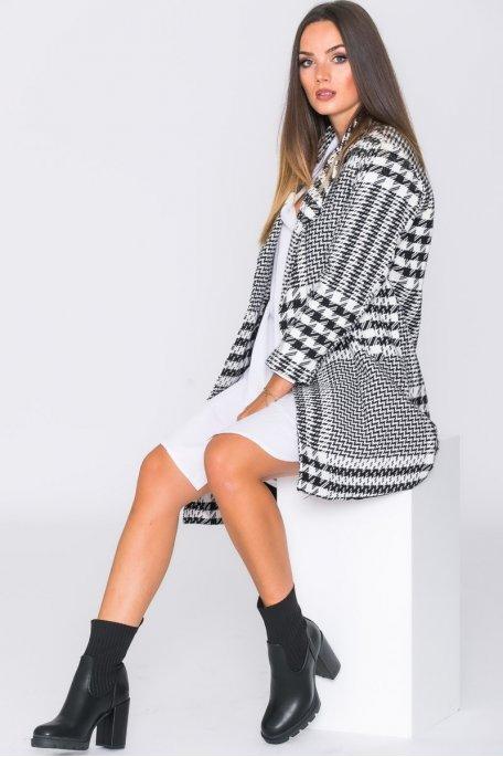 Manteau mi-long pied-de-poule noir