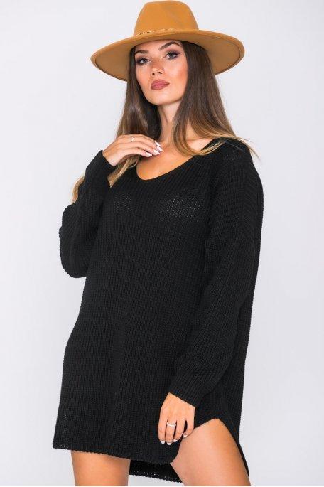 Robe pull en maille oversize noir