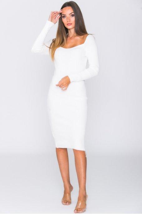 Robe mi-longue moulante col carrée côtelée blanc