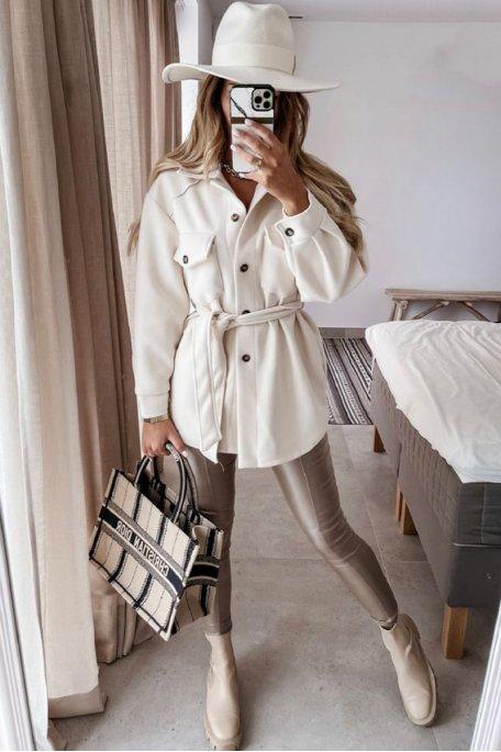 Manteau ceinturé avec poches blanc